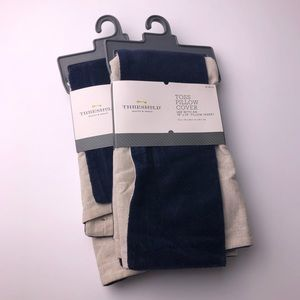 NWT THRESHOLD Navy Pillow Covers 18x18